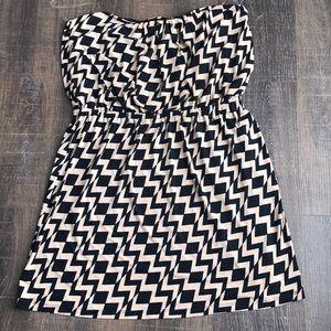 Black and taupe chevron dress